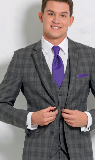 Plaid Gray Tux with Ravens Purple Tie and Pocket Square
