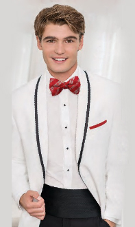 Tuxedo White Jacket Black Pants Red Bowtie and Pocket Square